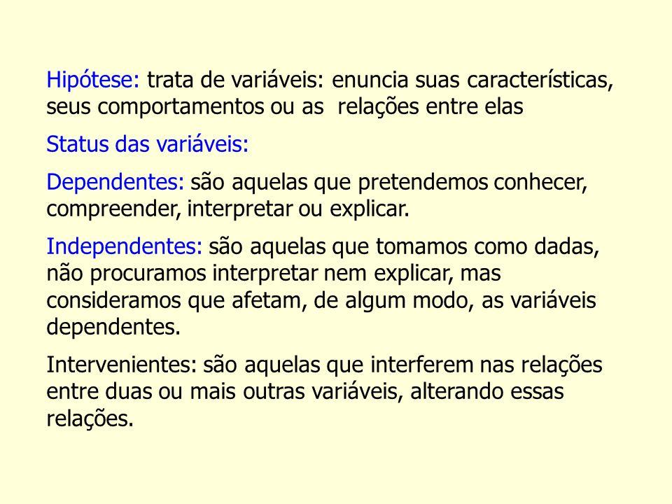Hipótese: trata de variáveis: enuncia suas características, seus comportamentos ou as relações entre elas