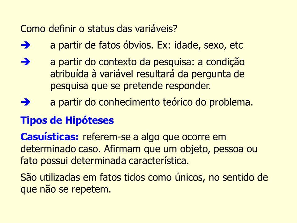 Como definir o status das variáveis