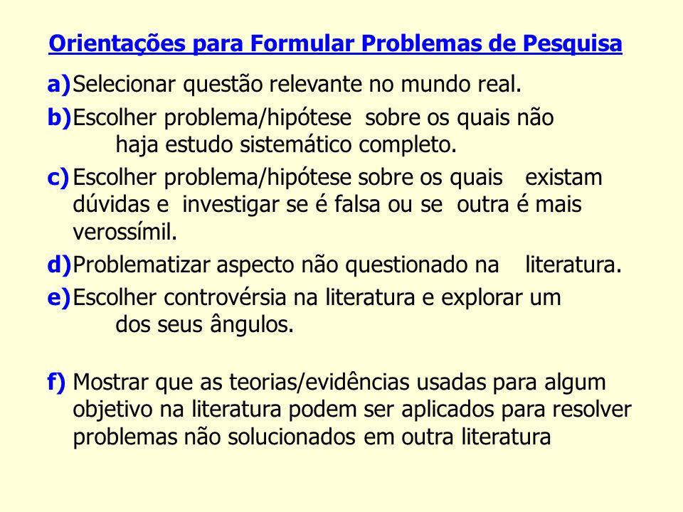 Orientações para Formular Problemas de Pesquisa