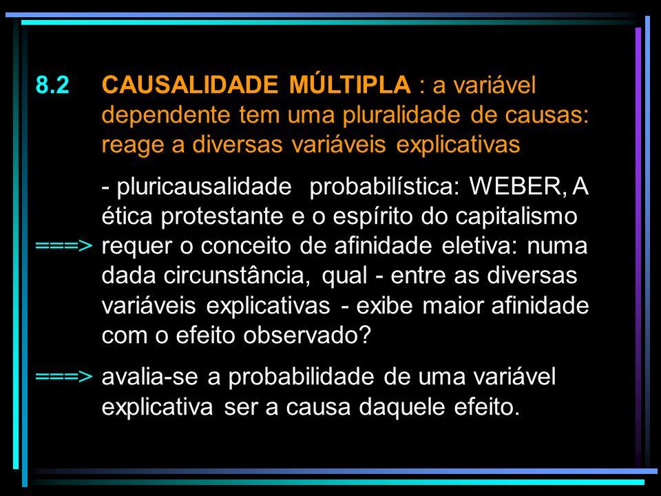 8. 2. CAUSALIDADE MÚLTIPLA : a variável