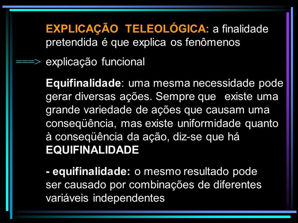 EXPLICAÇÃO TELEOLÓGICA: a finalidade