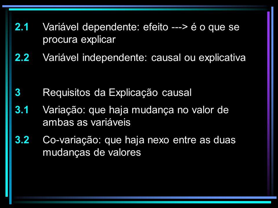 2.1 Variável dependente: efeito ---> é o que se procura explicar