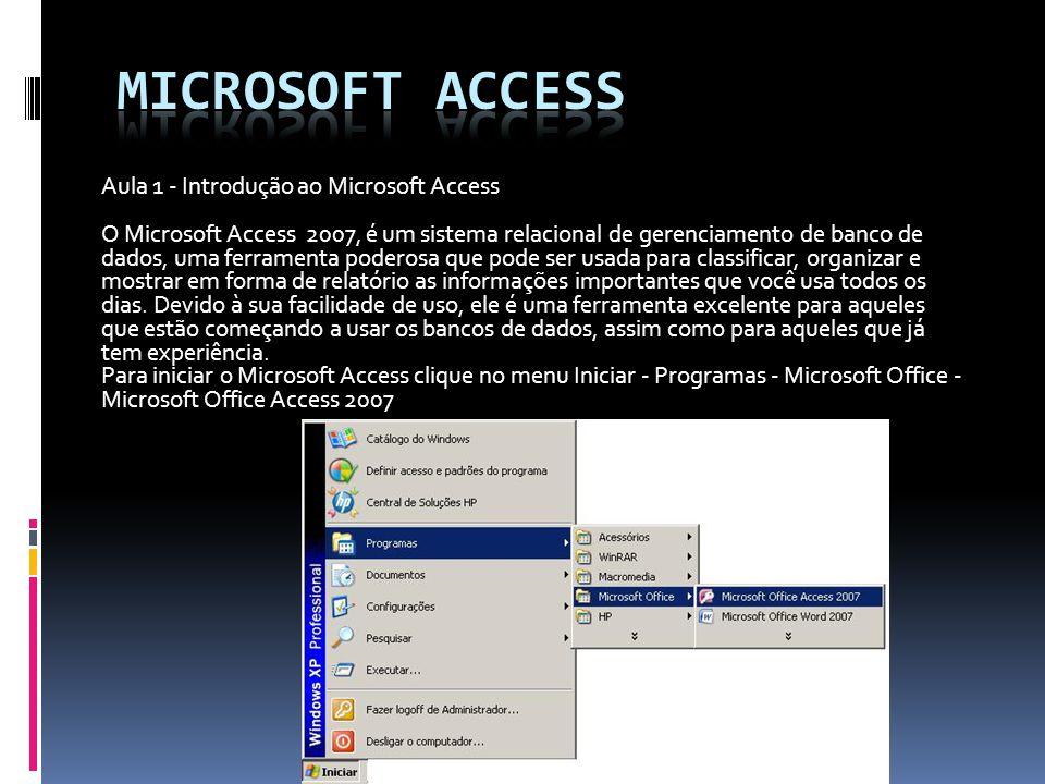 Microsoft access Aula 1 - Introdução ao Microsoft Access