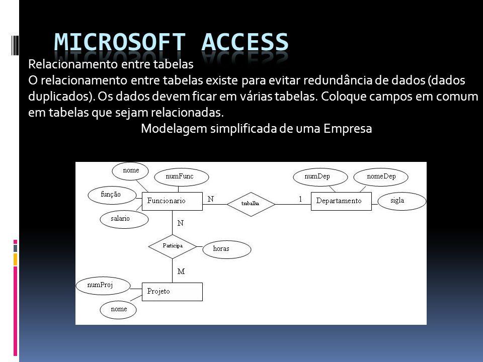 Microsoft access Relacionamento entre tabelas