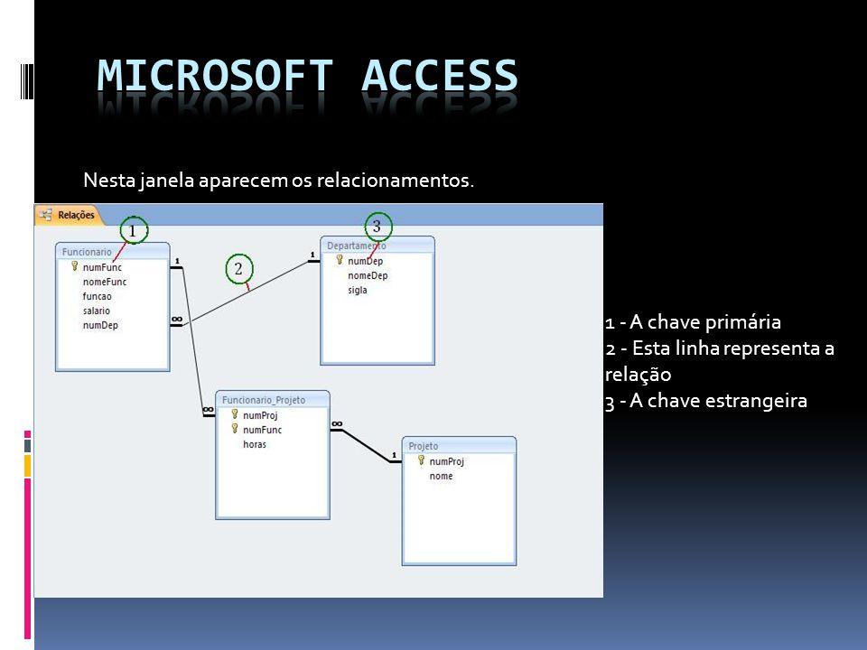 Microsoft access Nesta janela aparecem os relacionamentos.