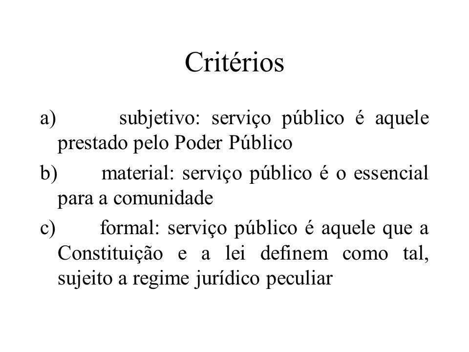 Critérios a) subjetivo: serviço público é aquele prestado pelo Poder Público. b) material: serviço público é o essencial para a comunidade.