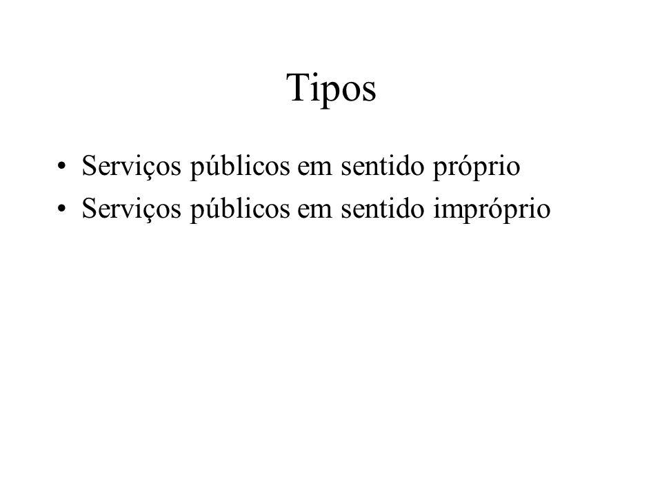 Tipos Serviços públicos em sentido próprio