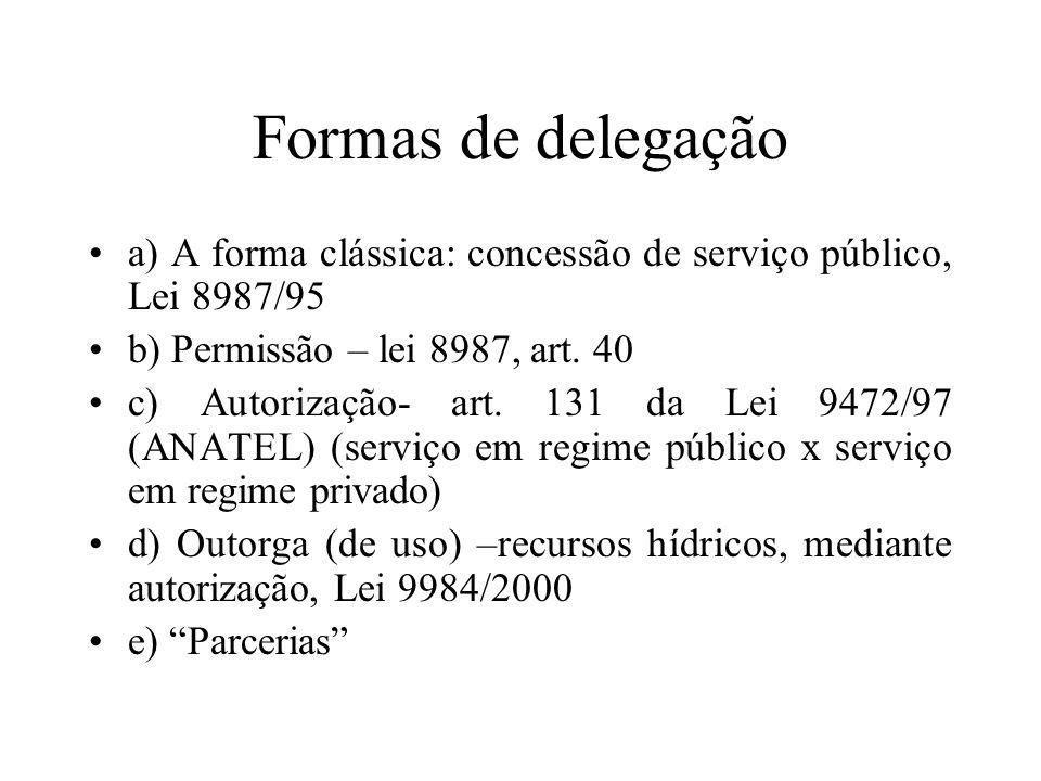 Formas de delegação a) A forma clássica: concessão de serviço público, Lei 8987/95. b) Permissão – lei 8987, art. 40.