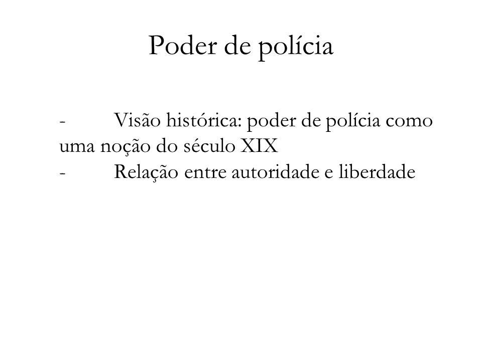Poder de polícia - Visão histórica: poder de polícia como uma noção do século XIX - Relação entre autoridade e liberdade.
