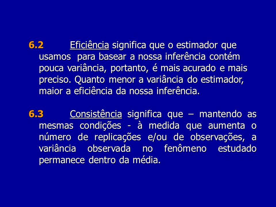 6.2 Eficiência significa que o estimador que usamos para basear a nossa inferência contém pouca variância, portanto, é mais acurado e mais preciso. Quanto menor a variância do estimador, maior a eficiência da nossa inferência.