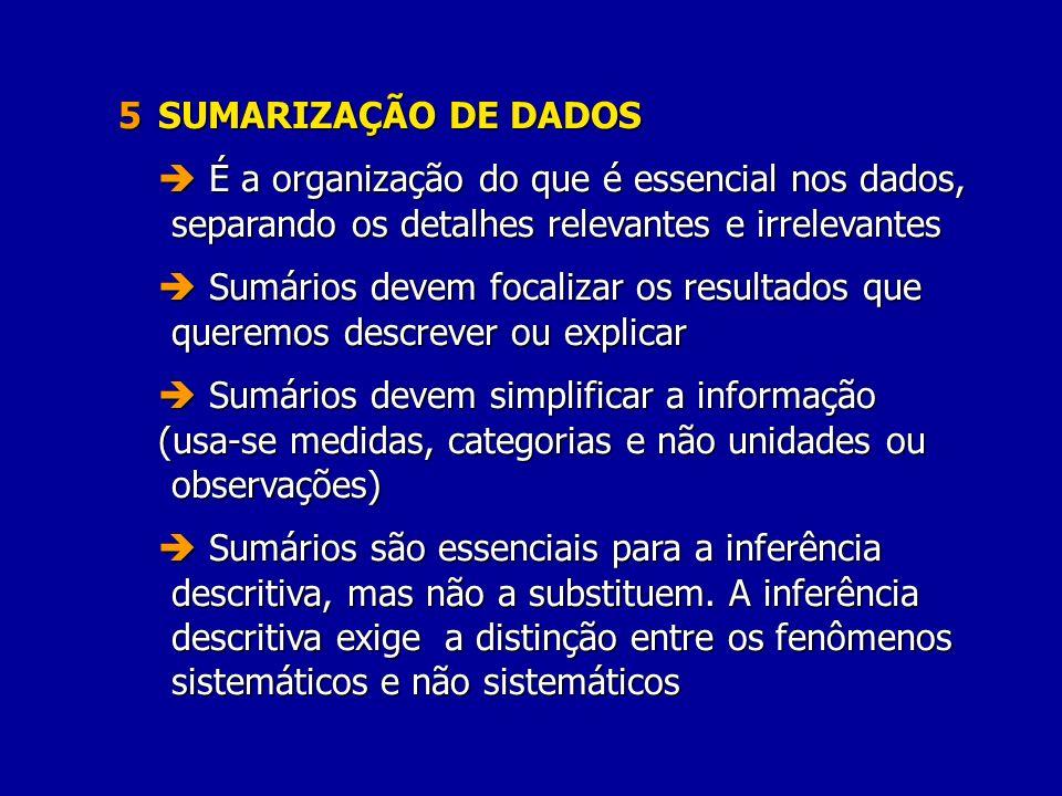 5 SUMARIZAÇÃO DE DADOS  É a organização do que é essencial nos dados, separando os detalhes relevantes e irrelevantes.