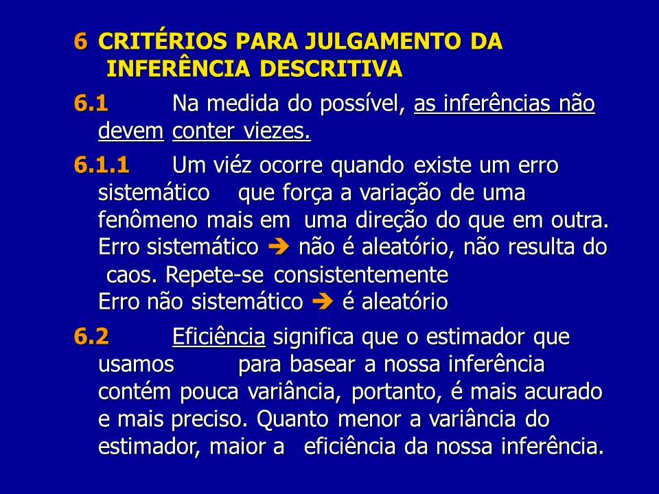 6 CRITÉRIOS PARA JULGAMENTO DA INFERÊNCIA DESCRITIVA