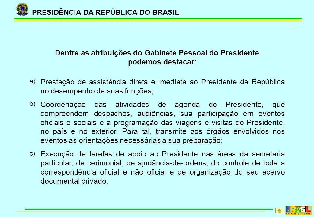 Dentre as atribuições do Gabinete Pessoal do Presidente podemos destacar: