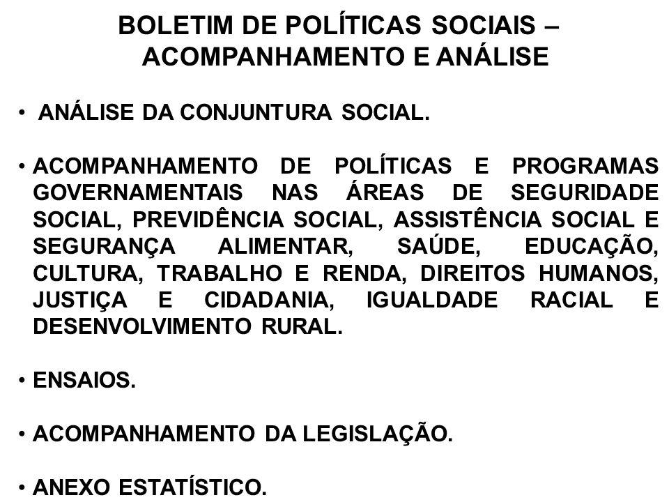 BOLETIM DE POLÍTICAS SOCIAIS – ACOMPANHAMENTO E ANÁLISE