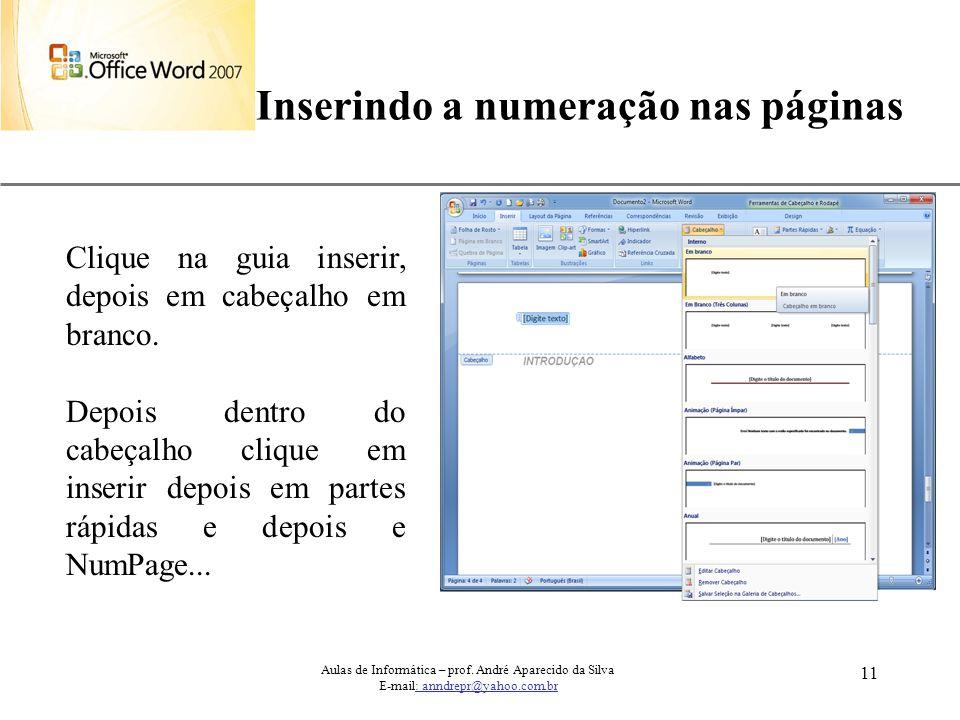 Inserindo a numeração nas páginas