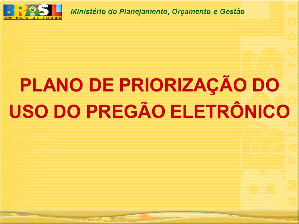 PLANO DE PRIORIZAÇÃO DO USO DO PREGÃO ELETRÔNICO