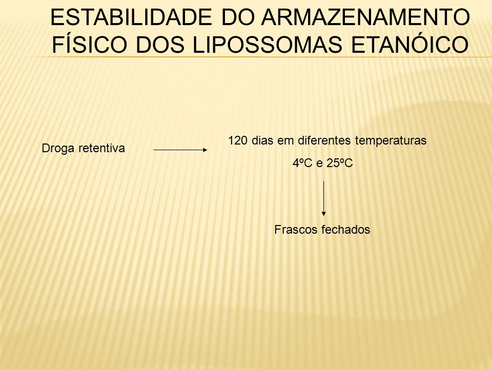 ESTABILIDADE DO ARMAZENAMENTO FÍSICO DOS LIPOSSOMAS ETANÓICO