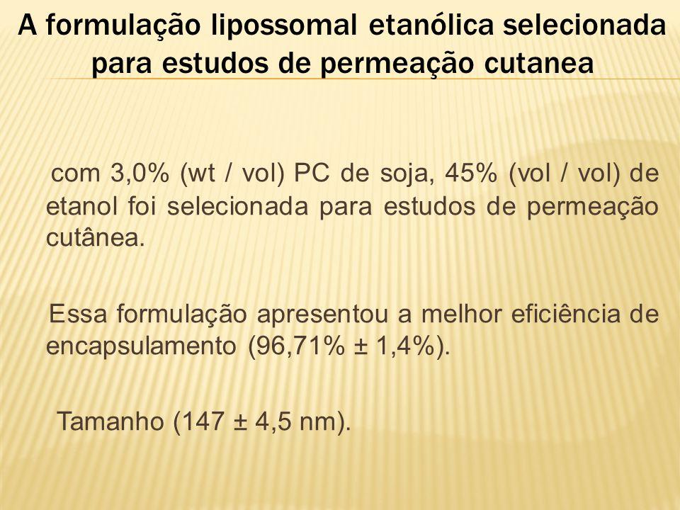 A formulação lipossomal etanólica selecionada