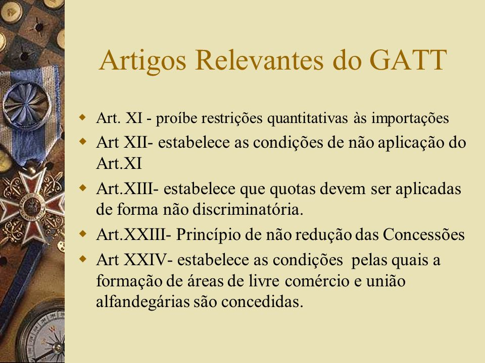 Artigos Relevantes do GATT