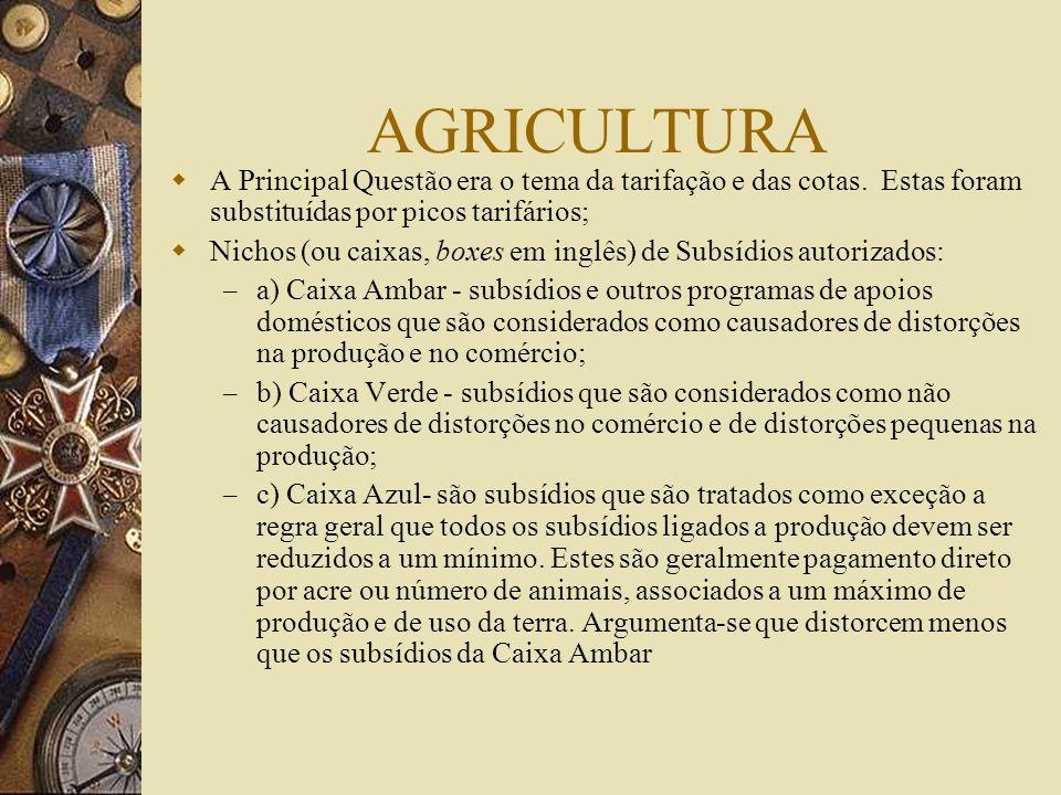 AGRICULTURA A Principal Questão era o tema da tarifação e das cotas. Estas foram substituídas por picos tarifários;
