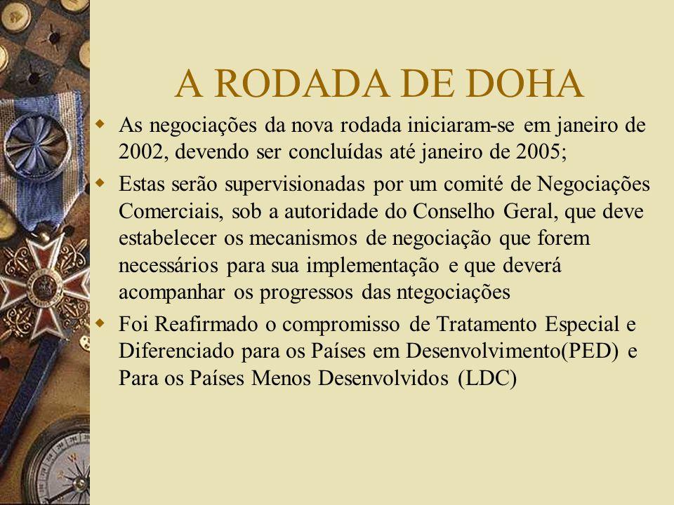 A RODADA DE DOHA As negociações da nova rodada iniciaram-se em janeiro de 2002, devendo ser concluídas até janeiro de 2005;