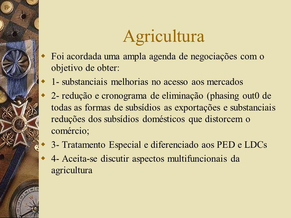 AgriculturaFoi acordada uma ampla agenda de negociações com o objetivo de obter: 1- substanciais melhorias no acesso aos mercados.