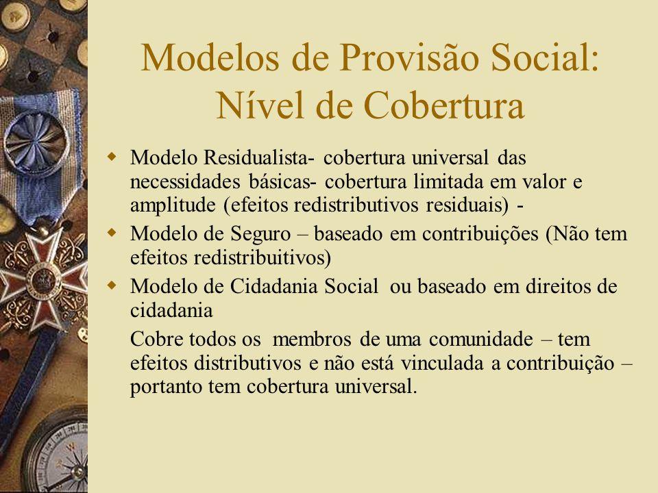 Modelos de Provisão Social: Nível de Cobertura
