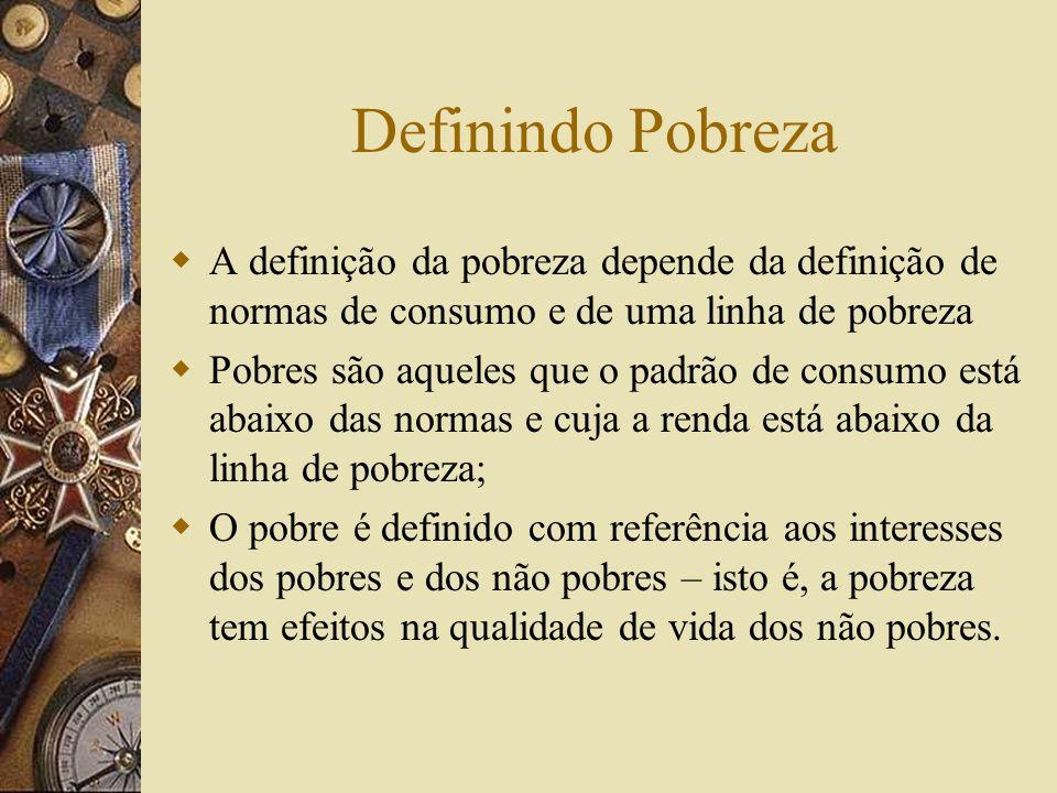 Definindo Pobreza A definição da pobreza depende da definição de normas de consumo e de uma linha de pobreza.