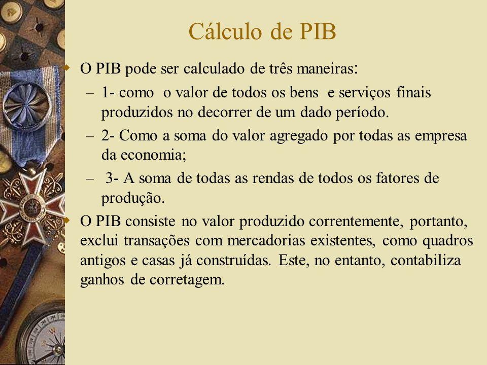 Cálculo de PIB O PIB pode ser calculado de três maneiras: