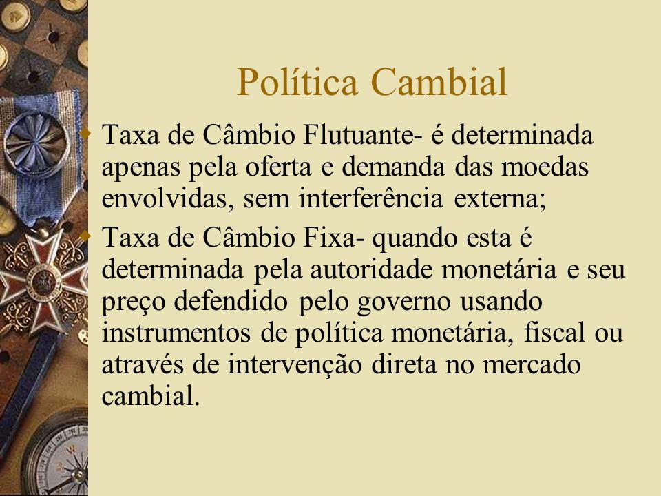 Política Cambial Taxa de Câmbio Flutuante- é determinada apenas pela oferta e demanda das moedas envolvidas, sem interferência externa;