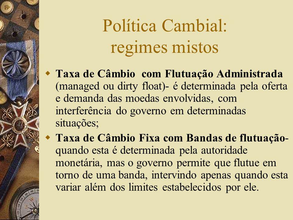 Política Cambial: regimes mistos