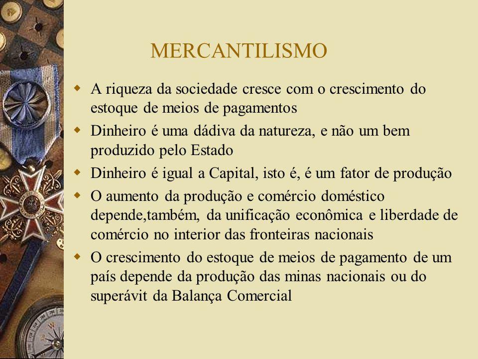 MERCANTILISMOA riqueza da sociedade cresce com o crescimento do estoque de meios de pagamentos.