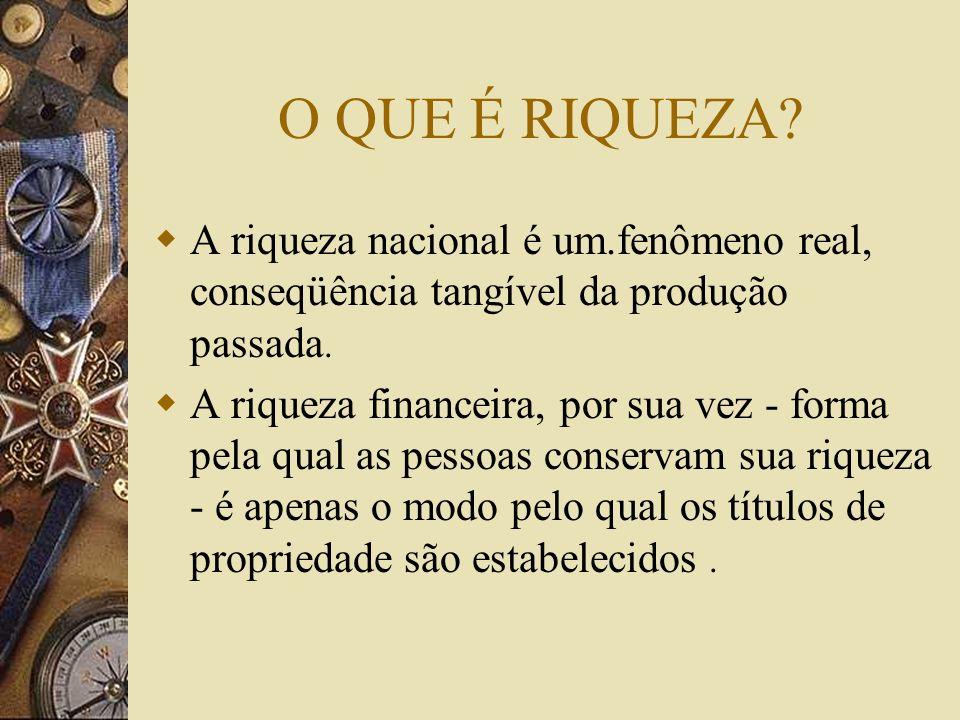 O QUE É RIQUEZA A riqueza nacional é um.fenômeno real, conseqüência tangível da produção passada.