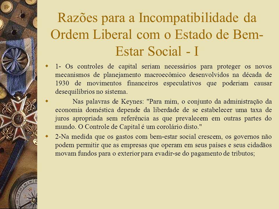 Razões para a Incompatibilidade da Ordem Liberal com o Estado de Bem-Estar Social - I