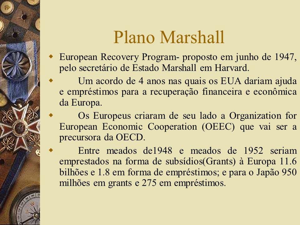 Plano MarshallEuropean Recovery Program- proposto em junho de 1947, pelo secretário de Estado Marshall em Harvard.