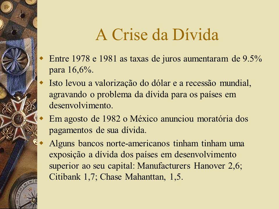 A Crise da DívidaEntre 1978 e 1981 as taxas de juros aumentaram de 9.5% para 16,6%.