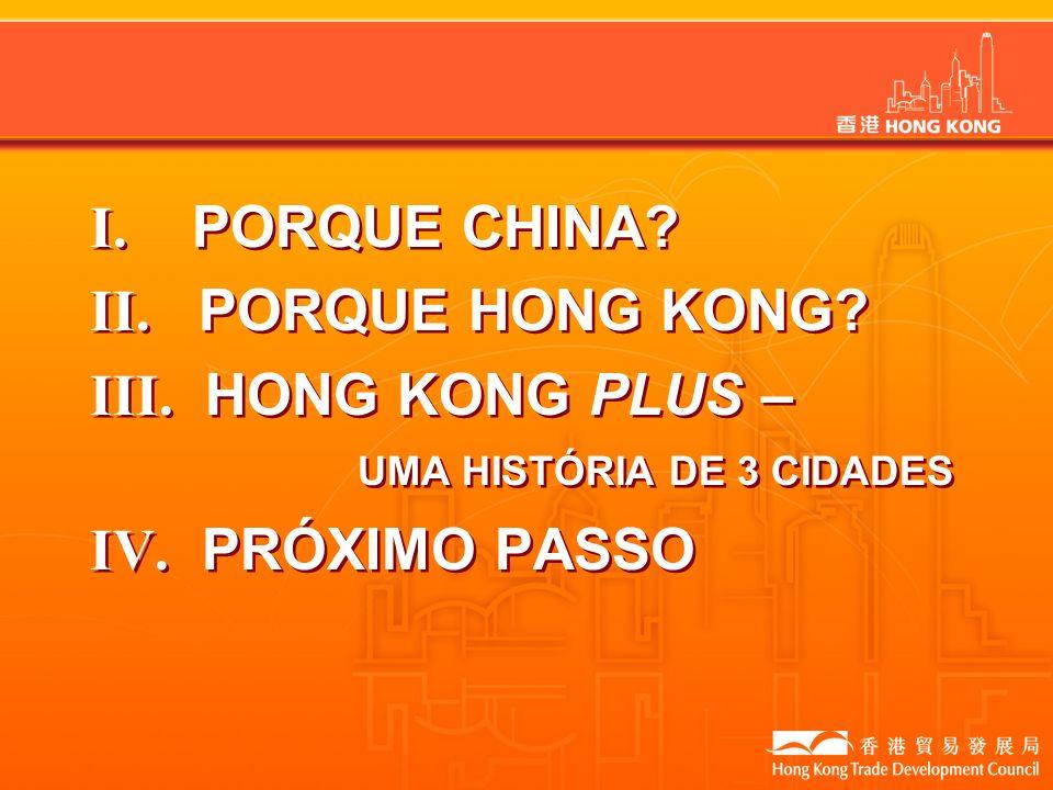 I. PORQUE CHINA II. PORQUE HONG KONG III. HONG KONG PLUS – UMA HISTÓRIA DE 3 CIDADES.