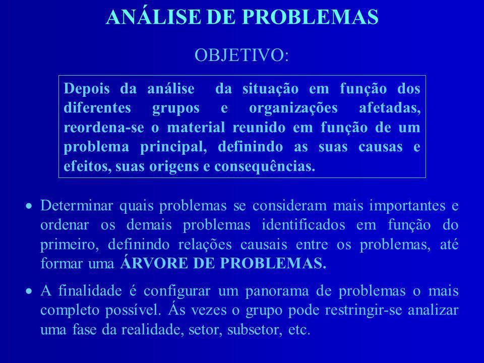 ANÁLISE DE PROBLEMAS OBJETIVO: