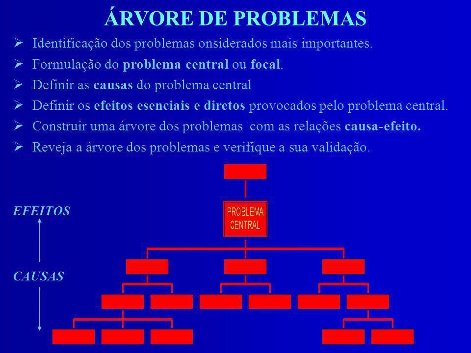 ÁRVORE DE PROBLEMAS Identificação dos problemas onsiderados mais importantes. Formulação do problema central ou focal.