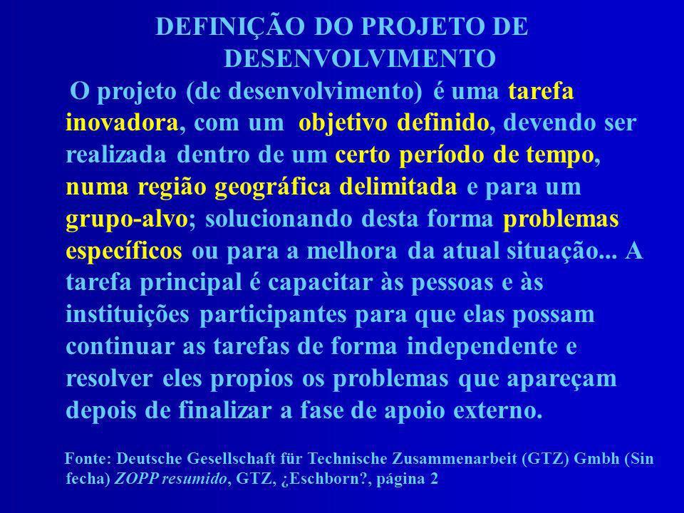 DEFINIÇÃO DO PROJETO DE DESENVOLVIMENTO