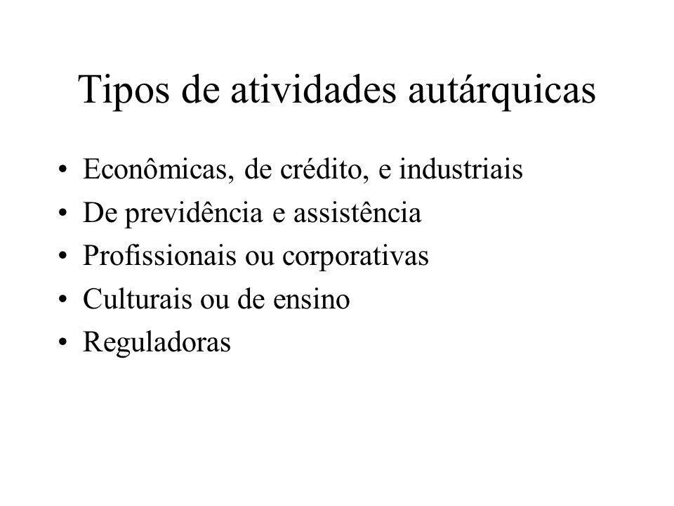 Tipos de atividades autárquicas