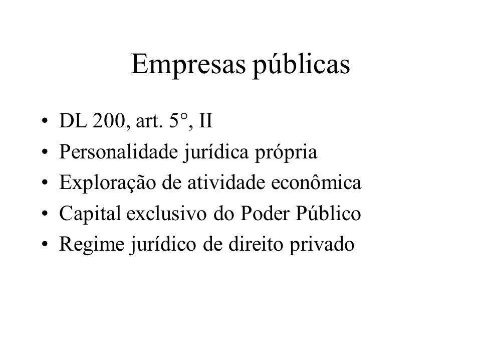 Empresas públicas DL 200, art. 5°, II Personalidade jurídica própria