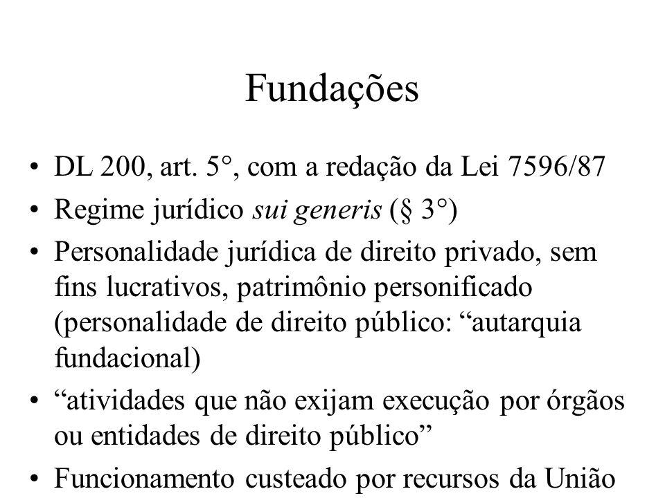 Fundações DL 200, art. 5°, com a redação da Lei 7596/87