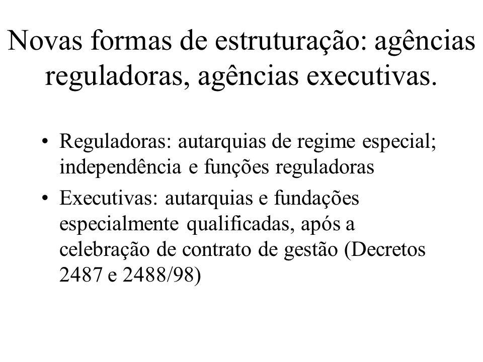 Novas formas de estruturação: agências reguladoras, agências executivas.