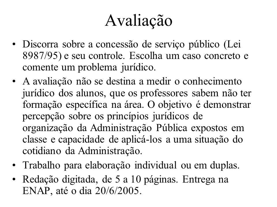 Avaliação Discorra sobre a concessão de serviço público (Lei 8987/95) e seu controle. Escolha um caso concreto e comente um problema jurídico.