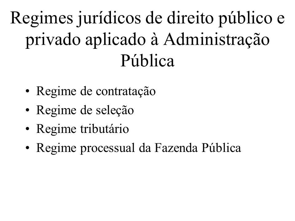 Regimes jurídicos de direito público e privado aplicado à Administração Pública