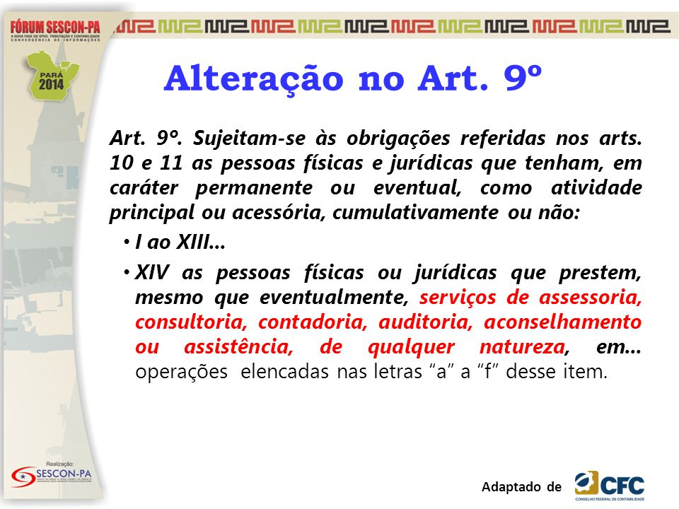 Alteração no Art. 9º