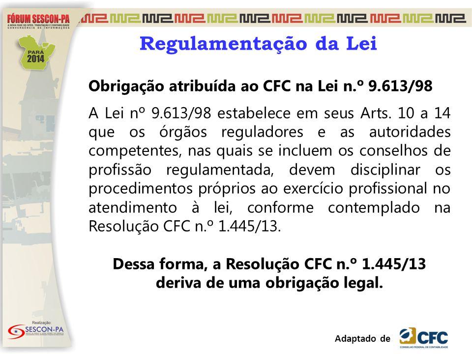 Regulamentação da Lei Obrigação atribuída ao CFC na Lei n.º 9.613/98