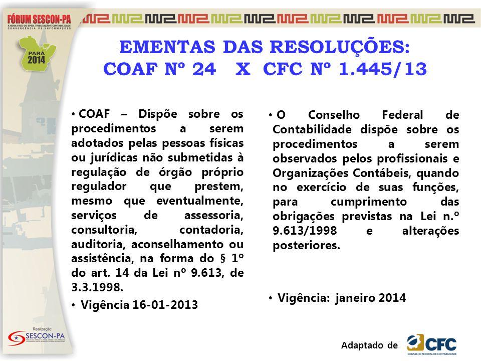 EMENTAS DAS RESOLUÇÕES: COAF Nº 24 X CFC Nº 1.445/13
