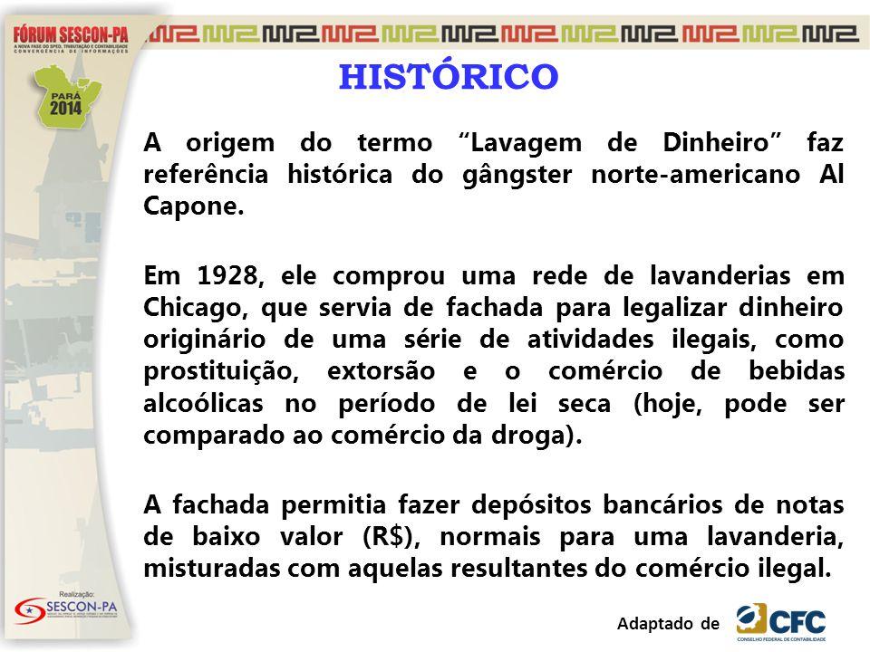 HISTÓRICO A origem do termo Lavagem de Dinheiro faz referência histórica do gângster norte-americano Al Capone.